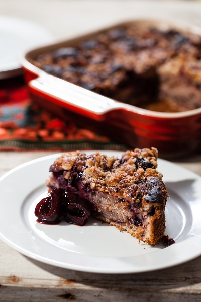 Cherry Buckle with Almond Crumb