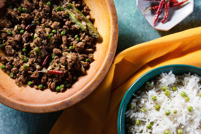 Spicy ground lamb and cumin scented rice